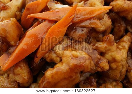 Chinese Food. Pork In Soya Sauce And Vegetables