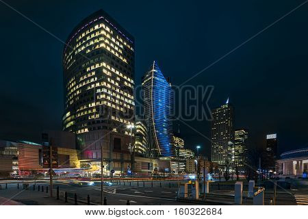 Warsaw downtown during the night in Poland