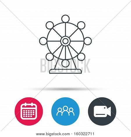 Ferris wheel icon. Entertainment park sign. Group of people, video cam and calendar icons. Vector
