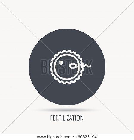 Fertilization icon. Pregnancy sign. Spermatozoid and egg symbol. Round web button with flat icon. Vector