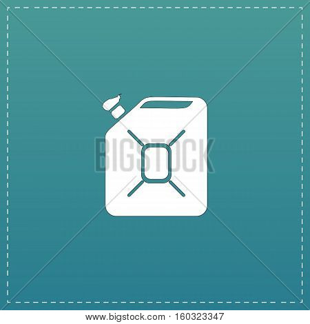 Jerrycan oil. White flat icon with black stroke on blue background