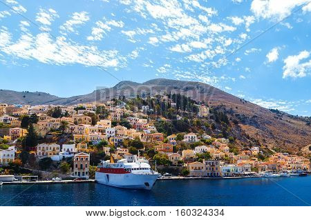 largest ship in the port of Symi. pictorial Greece series- island, Dodecanes