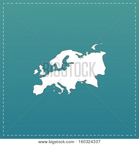 Eurasia map. White flat icon with black stroke on blue background poster