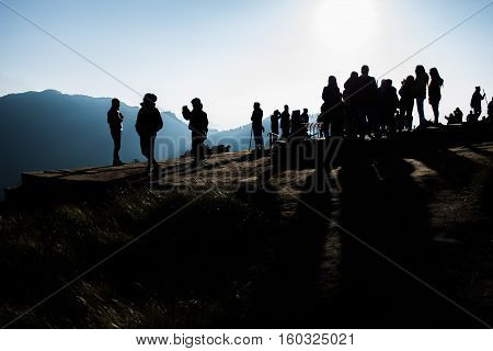View from Poon Hill the traveler or trekker with holiday silhouette at Himalaya Nepal Poon hill is the famous view point in Ghorepani village