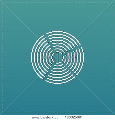 Crop Circle. White flat icon with black stroke on blue background
