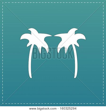 Two palm trees. White flat icon with black stroke on blue background