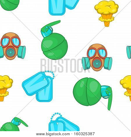 War equipment pattern. Cartoon illustration of war equipment vector pattern for web