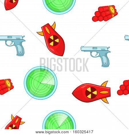 Weaponry pattern. Cartoon illustration of weaponry vector pattern for web poster