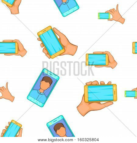 Photography on smartphone pattern. Cartoon illustration of photography on smartphone vector pattern for web