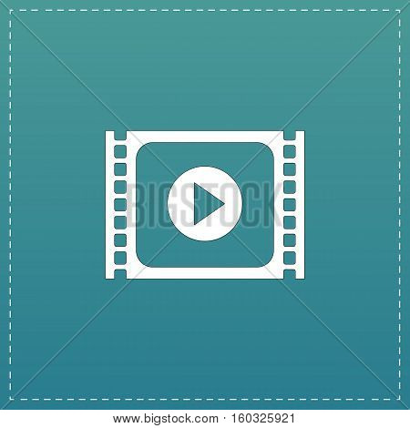 Simple Media player. White flat icon with black stroke on blue background
