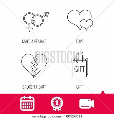 Achievement and video cam signs. Love heart, gift bag and male with female icons. Broken heart or divorce linear signs. Calendar icon. Vector