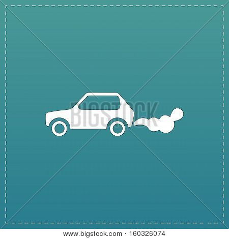 Car emits carbon dioxide. White flat icon with black stroke on blue background