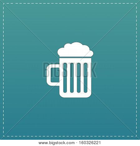 Simple Beer mug. White flat icon with black stroke on blue background