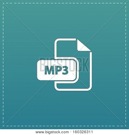 MP3 audio file extension. White flat icon with black stroke on blue background