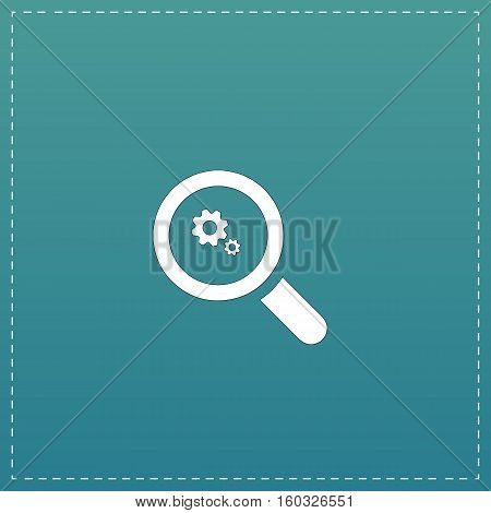 Business Analysis. White flat icon with black stroke on blue background