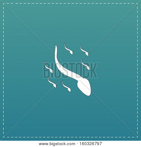 Group sperm swimming. White flat icon with black stroke on blue background