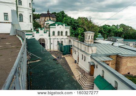 view of buildings inside Kyiv Pechersk Lavra in the yard, Kyiv, Ukraine