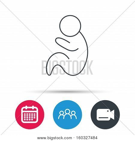 Baby infant icon. Pediatrics sign. Newborn child symbol. Group of people, video cam and calendar icons. Vector