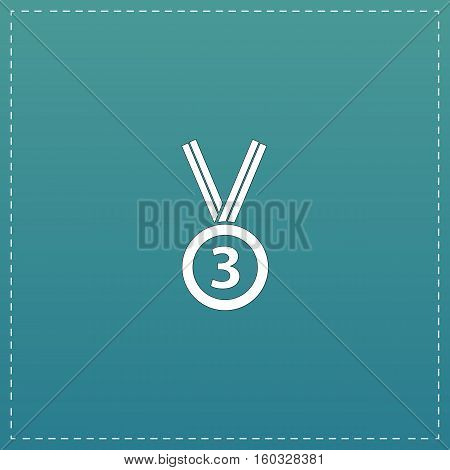 Bronze medal with ribbon. third prize, award accomplishment. 3nd place. White flat icon with black stroke on blue background