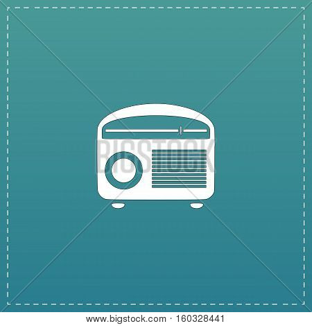 Retro revival radios tuner. White flat icon with black stroke on blue background
