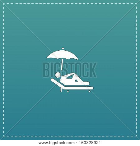 Simple Relax under an umbrella on a lounger. White flat icon with black stroke on blue background
