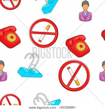 Hotel accommodation pattern. Cartoon illustration of hotel accommodation vector pattern for web