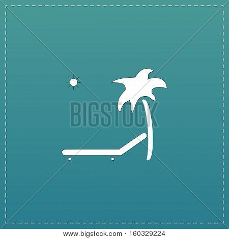 Tropical resort beach. Sunbed Chair. White flat icon with black stroke on blue background
