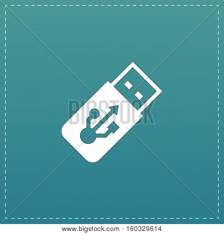 Usb flash drive. White flat icon with black stroke on blue background