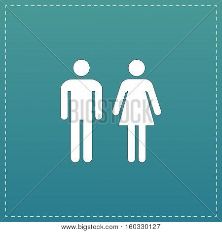 Man and woman - toilet, restroom. White flat icon with black stroke on blue background