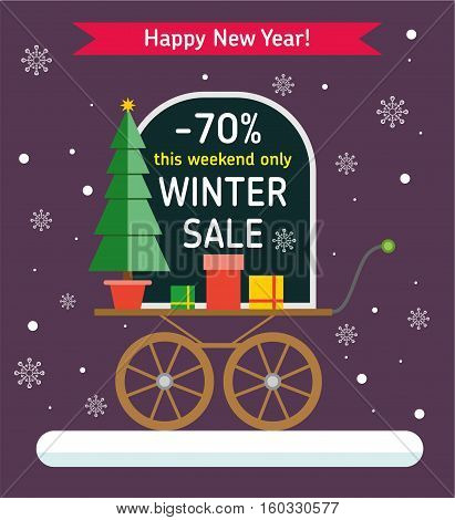 Winter Sale banner. Promotion store. Sale up to 70 percent. Chalk Board labels - Winter sale 70 percent discount and just this week - on a vintage cart with gifts and a Christmas tree. Flat style illustration.