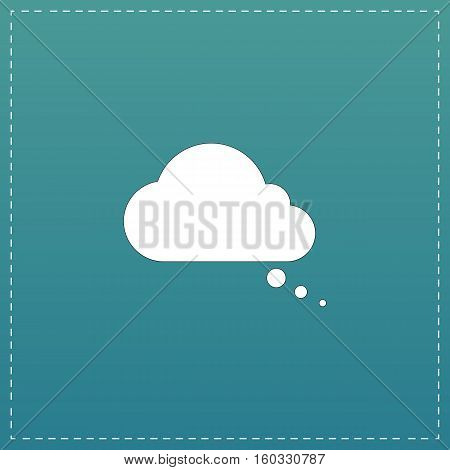 Cloud thought. White flat icon with black stroke on blue background