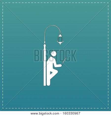 Businessman leaning on a lamppost in a tree, reading the newspaper. White flat icon with black stroke on blue background
