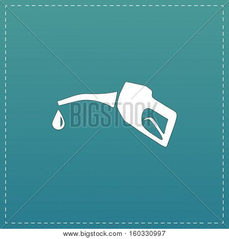Gasoline pump nozzle. White flat icon with black stroke on blue background
