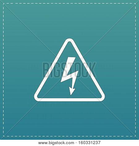 High voltage White flat icon with black stroke on blue background