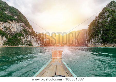 Wooden Boat On Ratchaprapha Dam Khao Sok National Park, Surat Thani Province, Thailand