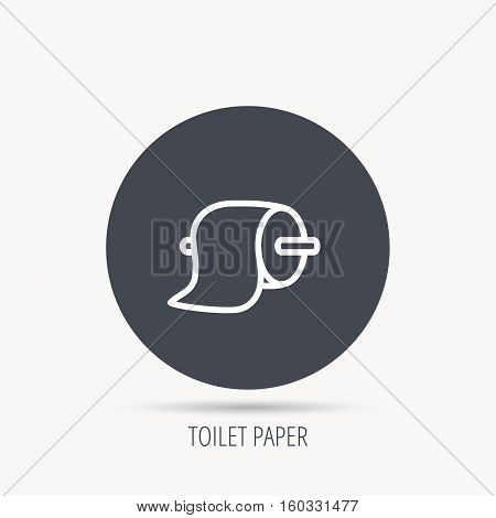 Toilet paper icon. WC hygiene sign. Round web button with flat icon. Vector