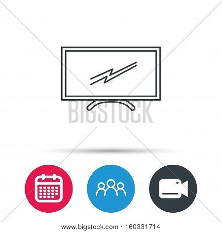 Lcd tv icon. Led monitor sign. Widescreen display symbol. Group of people, video cam and calendar icons. Vector