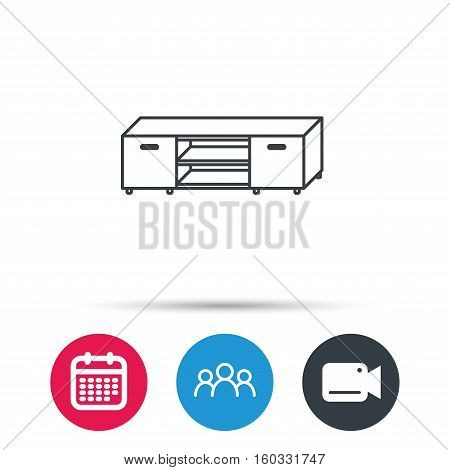TV table stand icon. Television furniture sign. Group of people, video cam and calendar icons. Vector