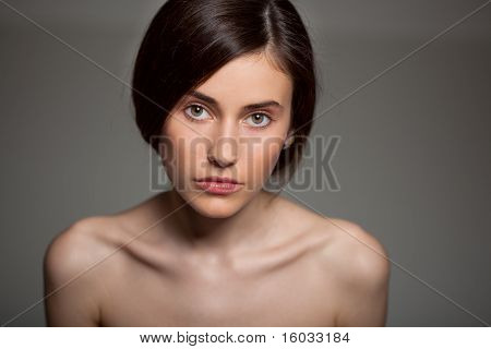 Young Beautiful Woman Looking Streight