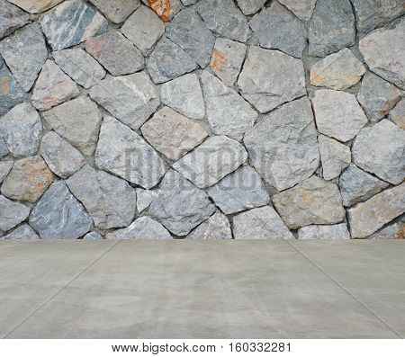 background of brick stone wall and concrete floor texture photo
