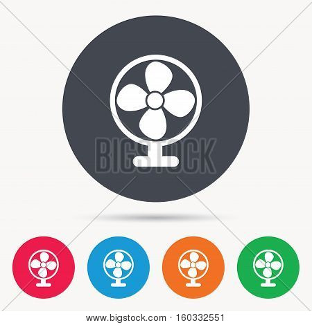Ventilator icon. Air ventilation or fan symbol. Colored circle buttons with flat web icon. Vector