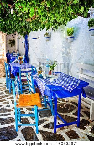 Traditional Greece - small tavernas in Cyclades. Naxos island. retro style picture