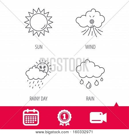Achievement and video cam signs. Weather, sun and wind icons. Rainy day linear sign. Calendar icon. Vector