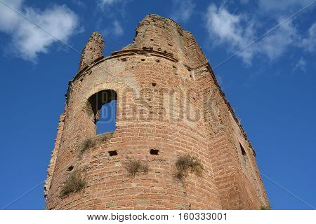 Detail of Circus of Maxentius old brick tower along Ancient Appia Way in Rome