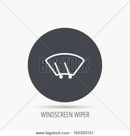 Windscreen wipers icon. Windshield sign. Round web button with flat icon. Vector