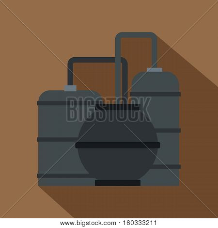 Oil refinery icon. Flat illustration of oil refinery vector icon for web isolated on coffee background