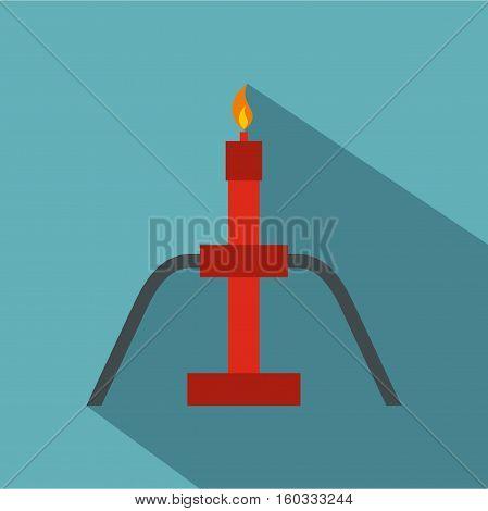 Burning oil gas flare icon. Flat illustration of burning oil gas flare vector icon for web isolated on baby blue background
