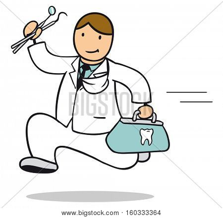 Cartoon of dentist running to emergency