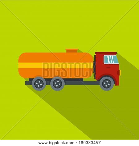 Tanker truck icon. Flat illustration of tanker truck vector icon for web isolated on lime background