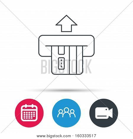 Insert credit card icon. Shopping sign. Bank ATM symbol. Group of people, video cam and calendar icons. Vector